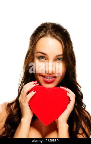 Jeune femme,coeur,aimer Banque D'Images