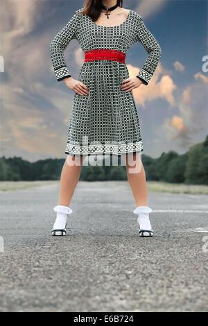 Jeune femme,fashion,retro,dress Banque D'Images