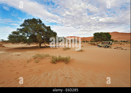 Paysage avec voiture Safari sur les dunes de Sossusvlei, la Namibie Banque D'Images