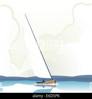 Illustration vectorielle modifiable d'un homme d'un yacht à voile sur l'eau calme Banque D'Images