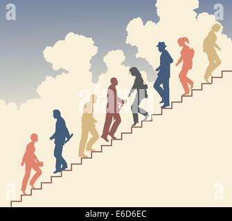 Silhouette vecteur modifiable colorés de personnes dans les escaliers contre le ciel Banque D'Images