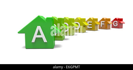 Les niveaux d'efficacité énergétique des maisons colorées Concept Classification 3D Illustration Banque D'Images