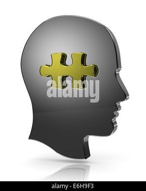 Tête humaine métallique avec illustration de pièce de puzzle Banque D'Images