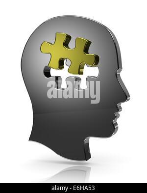 Tête humaine métallique avec un seul morceau de puzzle Illustration Banque D'Images