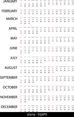 Une illustration d'un simple calendrier de l'année 2015