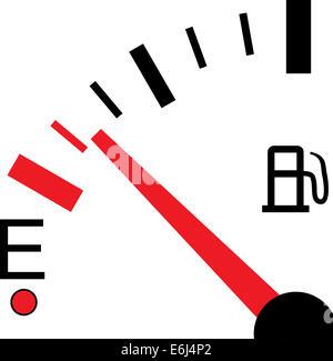 Une illustration d'une jauge de carburant sur fond blanc Banque D'Images