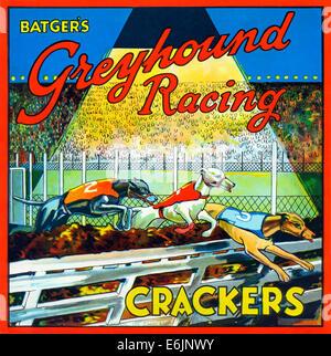 Batgers Greyhound Racing craquelins, 1930 étiquette pour un fort de la London Sweet et décideurs biscuit Banque D'Images