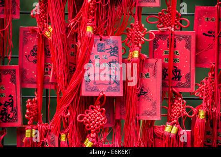 Cartes chinoise rouge qui souhaitent, Beijing, Chine Banque D'Images