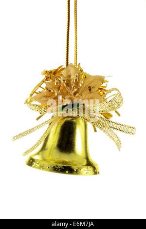 Or de Noël isolé sur fond blanc bell Banque D'Images
