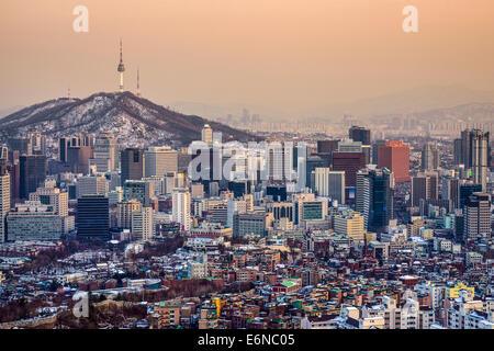 Séoul, Corée du Sud les toits de la ville. Banque D'Images