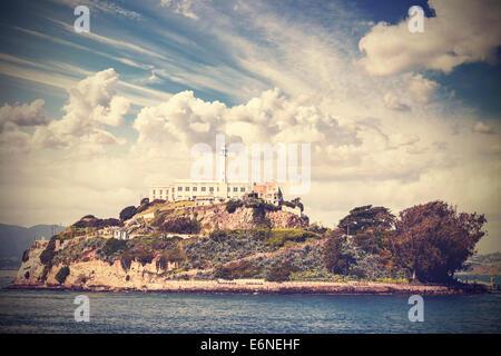Vintage photo de l'île d'Alcatraz à San Francisco, USA.