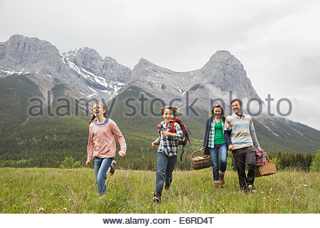 Family having picnic in rural field Banque D'Images