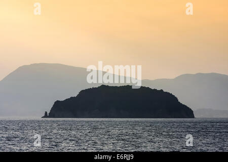 L'Marathonisi île de la baie de Laganas, Zante, Grèce. Banque D'Images