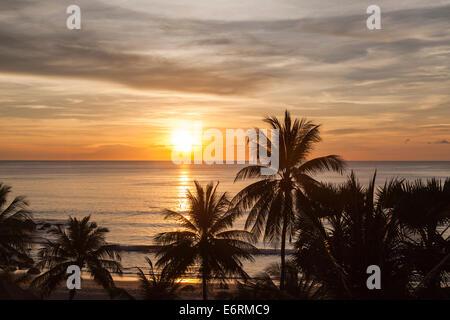 Coucher de soleil sur la mer, Surin Beach, Phuket, Thaïlande avec silhouettes de palmiers contre un ciel orange Banque D'Images