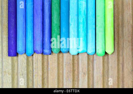 Bleu, vert et cyan pastels à l'huile, Close up, macro Banque D'Images