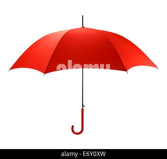 Vue du côté lumineux parapluie rouge isolé sur fond blanc. Banque D'Images