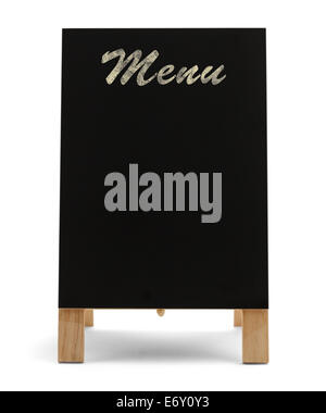 Stand Up Black Chalk Board Menu isolé sur fond blanc. Banque D'Images