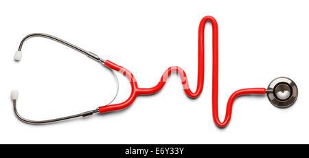 Stéthoscope dans la forme d'un battement de coeur sur un ECG. Banque D'Images