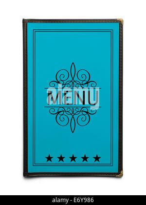 Restaurant Menu générique bleu avec cinq étoiles isolé sur fond blanc. Banque D'Images