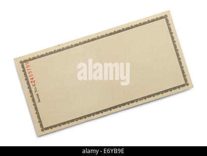Certificat de papier orné avec copie espace isolé sur fond blanc. Banque D'Images