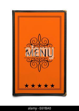 Restaurant Menu générique orange avec cinq étoiles isolé sur fond blanc. Banque D'Images