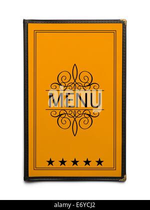 Restaurant Menu générique jaune avec cinq étoiles isolé sur fond blanc. Banque D'Images