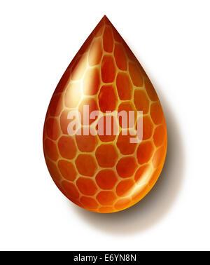 Chute de miel et de miel ou symbole Honey comb créé par les abeilles comme un mode de vie sain l'icône d'édulcorant Banque D'Images