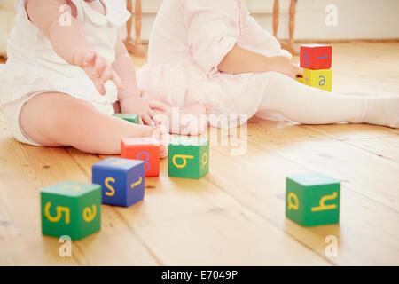 Cropped shot de sœurs bébé jouant avec des blocs de construction Banque D'Images