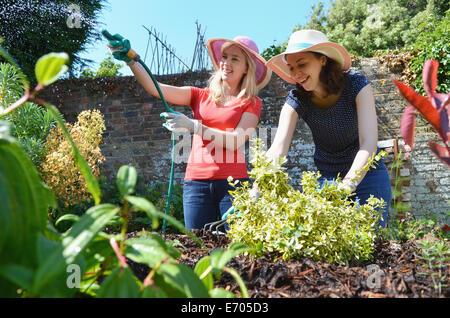 Les jeunes femmes d'arrosage jardin avec arrosage Banque D'Images