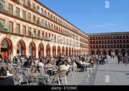 Terrasses de cafés sur la Plaza de la Corredera square, Cordoue, Andalousie, Espagne Banque D'Images