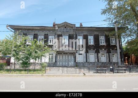 Maison en bois à centre historique de la ville d'Irkoutsk. La Sibérie, Fédération de Russie Banque D'Images