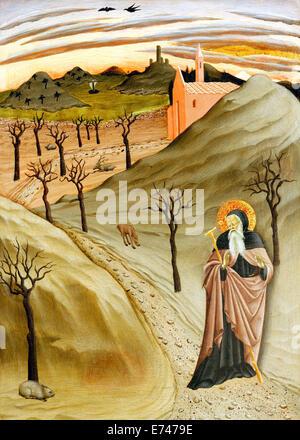 Saint Antoine, l'Abbé dans le désert - par Osservanza Master, 1435 Banque D'Images