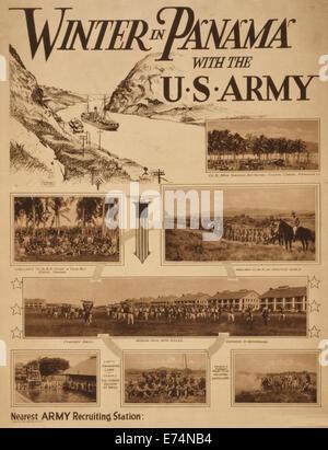 L'hiver au Panama avec l'armée américaine - Sommaire: Affiche de recrutement de l'armée américaine avec le dessin Banque D'Images