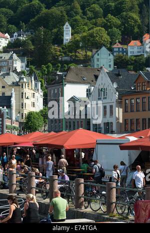 Marché aux poissons, Bergen, Norvège, Scandinavie. Banque D'Images