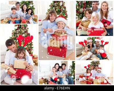 Image composite de collage des familles fêter Noël ensemble à la maison Banque D'Images
