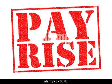 Augmentation de salaire de tampon en caoutchouc rouge sur un fond blanc. Banque D'Images