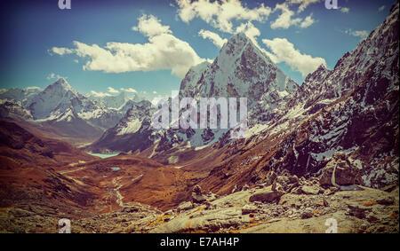 Retro vintage photo filtré de l'Himalaya, Népal. paysage