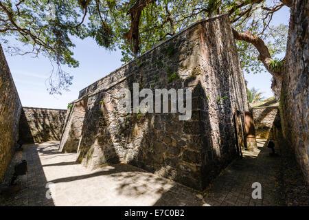 La poudre à fusil magazine à Fort King George à Scarborough, la capitale de Tobago. Banque D'Images