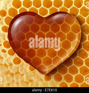 L'amour des aliments sains comme concept miel liquide en forme de cœur sur un nid ou un rayon à miel contexte créé Banque D'Images