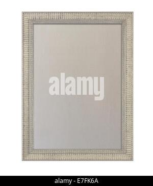 En fonction du tissu ou de l'avis d'affichage à l'intérieur d'un cadre photo décoré peint beige contre isolé sur Banque D'Images
