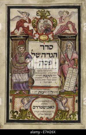 Moïse, Aaron le Grand Prêtre et Roi David - Haggadah de Pâque (1740), f.1 - BL Ajouter MS 18724