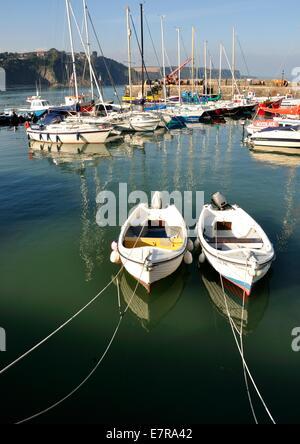 Petits bateaux de pêche et yachts dans un port Banque D'Images