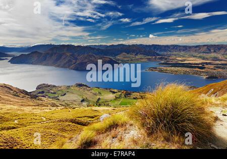 Lake Wanaka, vue depuis le mont Roys, Nouvelle-Zélande Banque D'Images