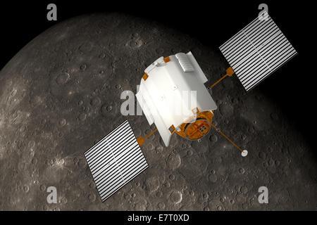 """'Messenger"""" gravitant autour de l'engin spatial Mercury Banque D'Images"""