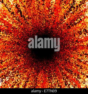Résumé rouge avec motif noir, centre d'art de l'ordinateur. Banque D'Images