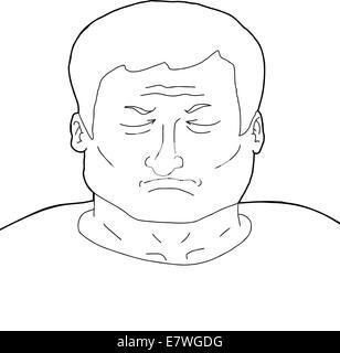 Apercu De L Homme Dessin Anime Adultes Avec Les Yeux Fermes Banque D