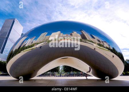 La sculpture de haricots au centre-ville de Chicago, IL Banque D'Images
