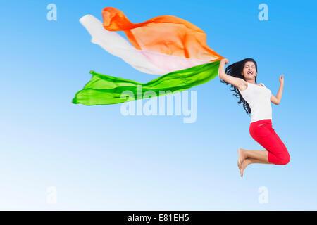 Indian Girl Jumping patriotique Dupatta fun park