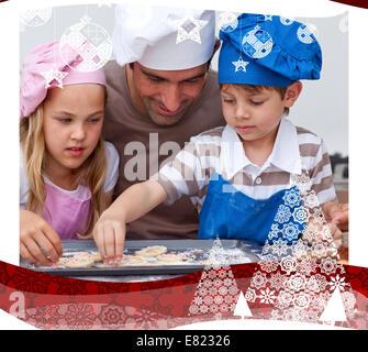 Portrait du père et des enfants baking Banque D'Images