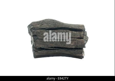 Le charbon de bois isolé sur fond blanc Banque D'Images